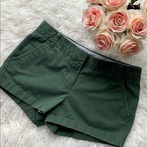 J. Crew women's green chino shorts size 4